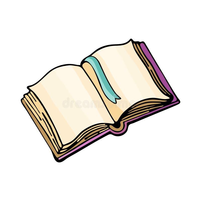 Offenes Buch oder Tutorial, Vektorzeichnung isoliert auf weißem Hintergrund Cartoon Doodle von niedlichen, farbigen Abbildungen W stock abbildung
