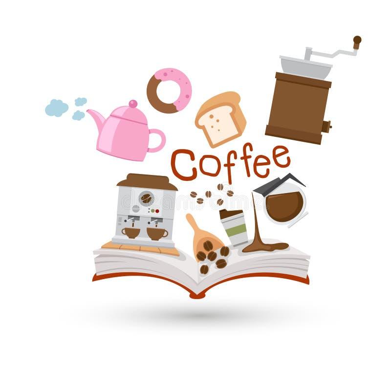 Offenes Buch und Ikonen des Kaffees und des Tees lizenzfreie abbildung