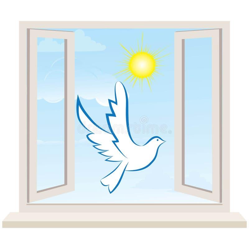 Offenes Fenster gegen eine weiße Wand und den bewölkten Himmel. Vektor vektor abbildung