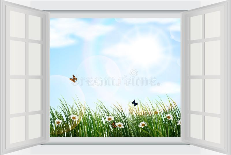Offenes fenster von außen  Offenes Fenster Mit Blumen Und Schmetterling Vektor Abbildung ...