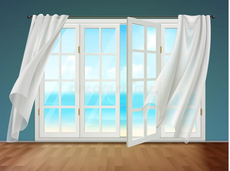 Offenes Fenster mit flatternden Vorhängen vektor abbildung