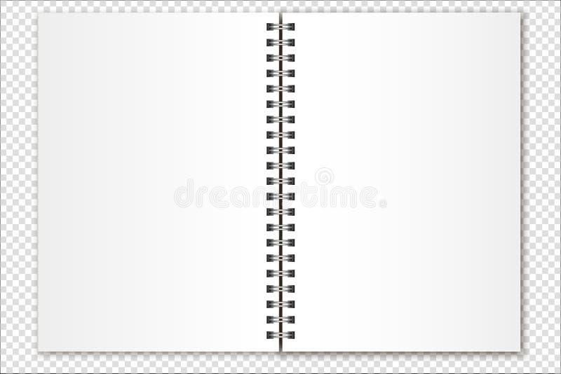 Offenes gewundenes Notizbuch des Vektormodells, Organisator, Kalender, Zeitschriftengröße a5 auf einem transparenten Hintergrund  vektor abbildung