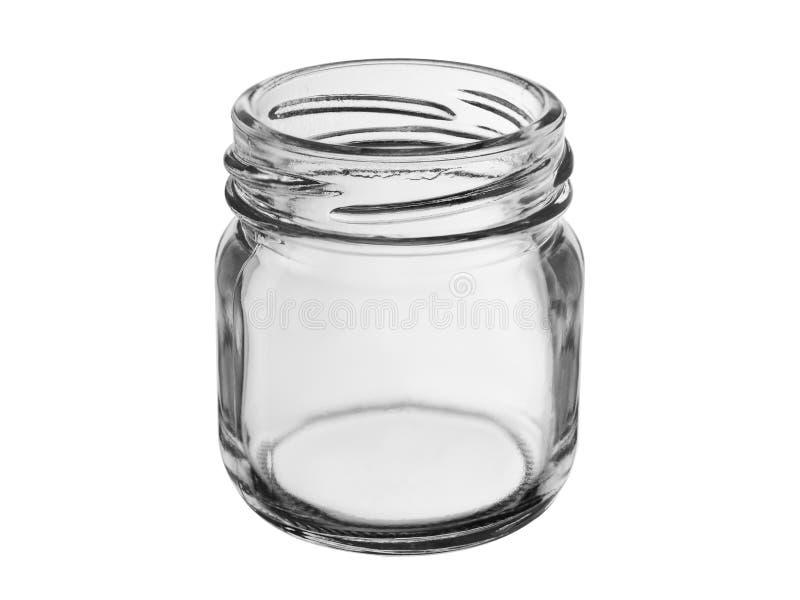 Offenes Glas für Speisen und Getränke, isoliert auf weißem Grund lizenzfreie stockfotografie