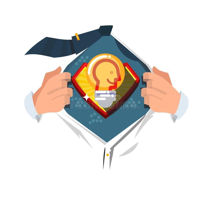 Offenes Hemd des Mannes zu Show ` Glühlampe der Idee mit menschlichem Kopf innerhalb ` des intelligenten Ideenkonzeptes vektor abbildung