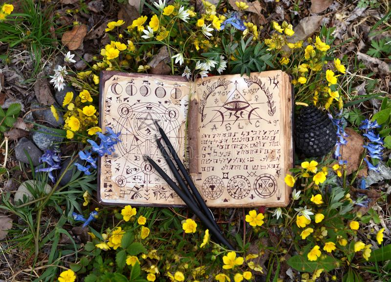 Offenes Hexenbuch mit mystischen Symbolen, schwarze Kerzen in den Blumen lizenzfreie stockfotos