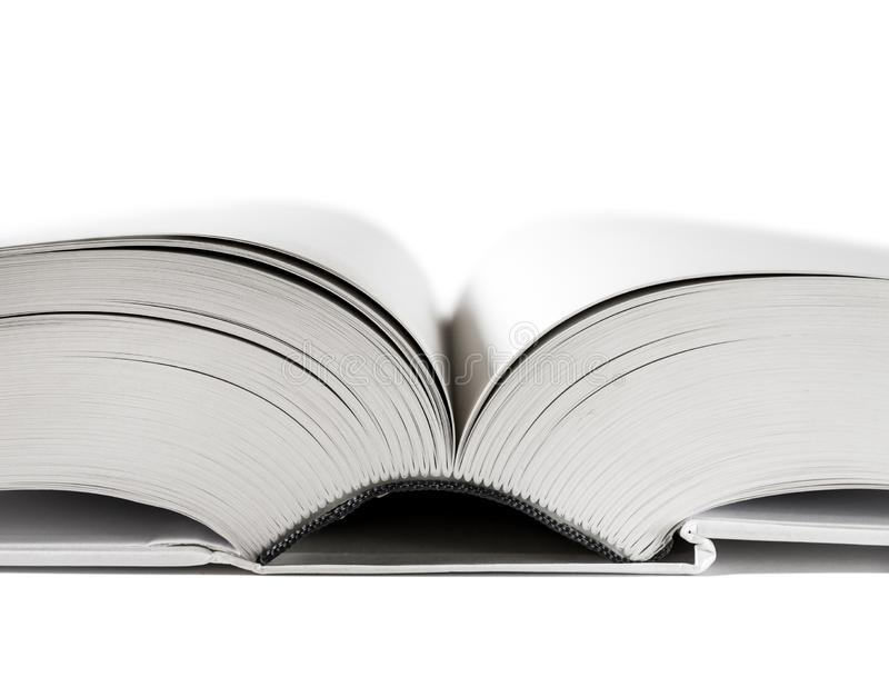 Offenes leeres Wörterbuch, Buch auf weißem Hintergrund stockbild