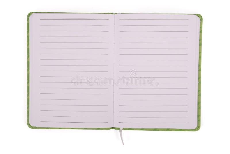 Offenes Notizbuch des Grüns stockfoto