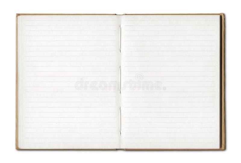 Offenes Notizbuch des Weinlesefreien raumes stockbild