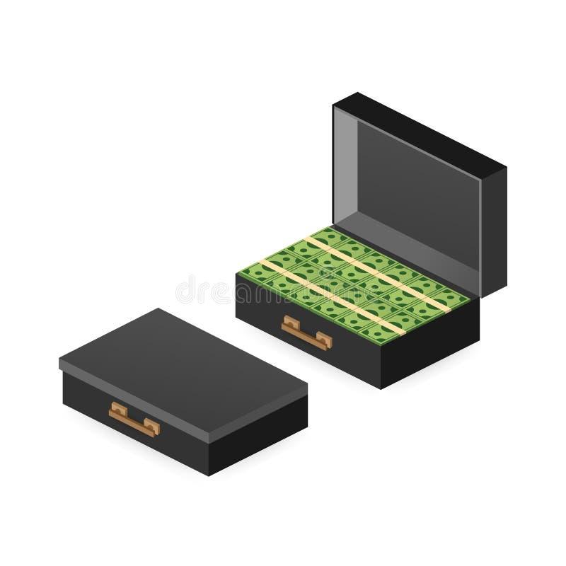 Offenes Portfolio mit Geld, Koffer mit Geld, Goldmünze und den offenen Kasten einlösen isometrisch Auch im corel abgehobenen Betr stock abbildung