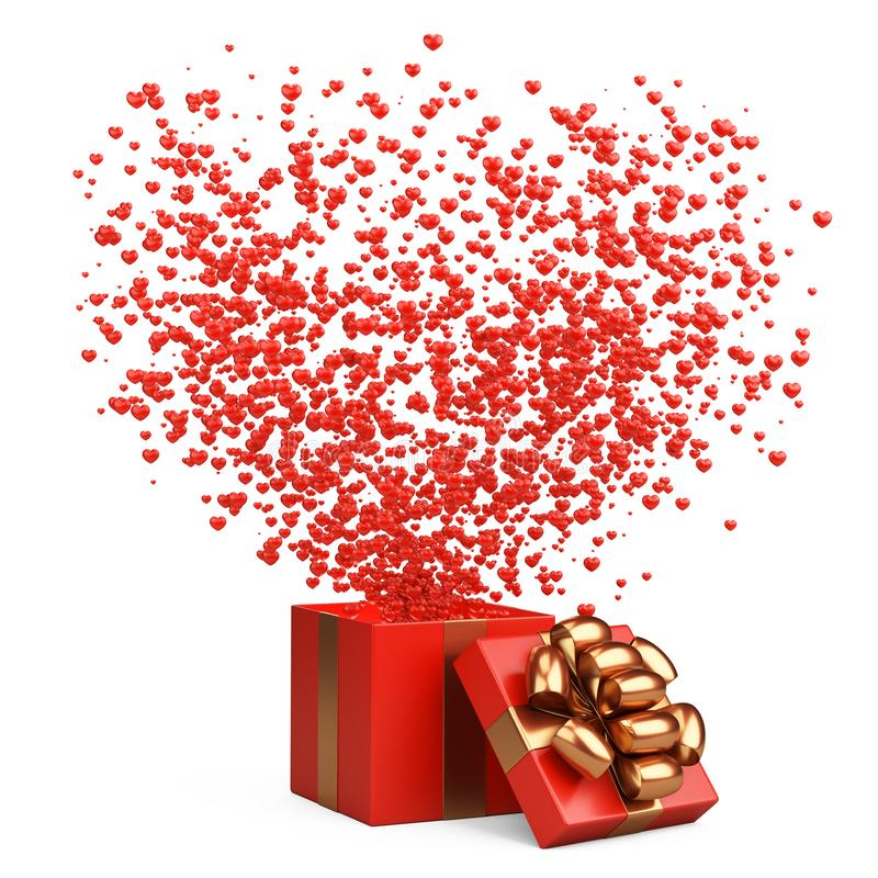 Offenes rotes Geschenk mit Fliegenherzen vom Kasten Valentinsgrußtagespostkartenentwurf - Symbole der Liebe stock abbildung