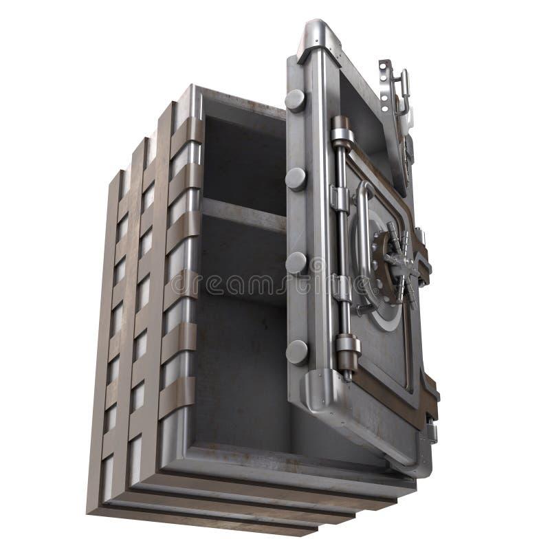 Offenes Safe des großen Eisens mit zwei Türen auf einem lokalisierten weißen Hintergrund Abbildung 3D lizenzfreie abbildung