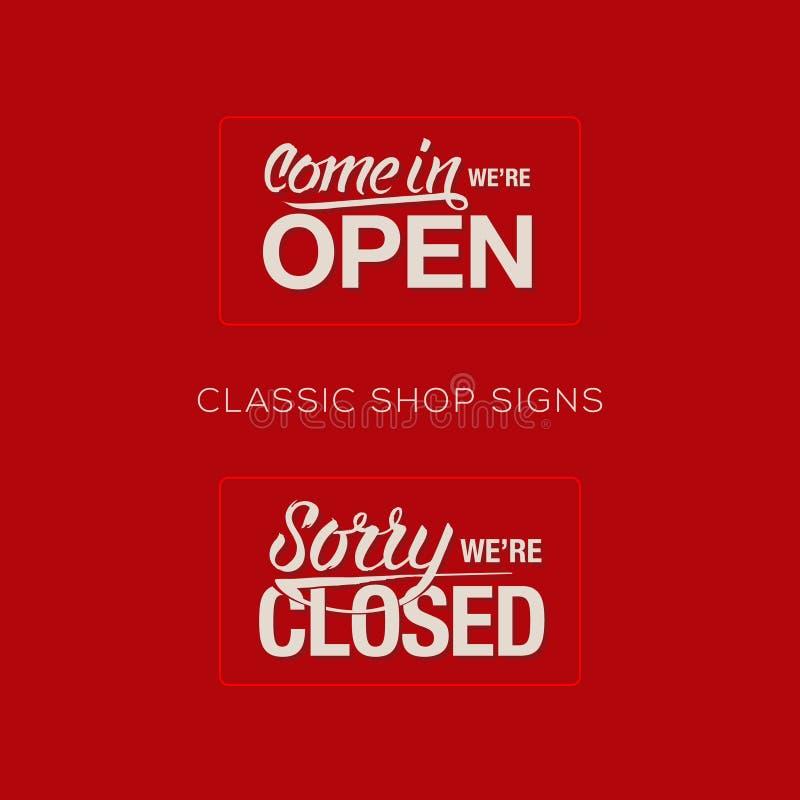 Offenes und geschlossenes Zeichen - Einzelhandelsgeschäft der Informationen vektor abbildung