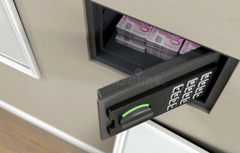 Offenes Wand-Safe und Banknoten stockbilder