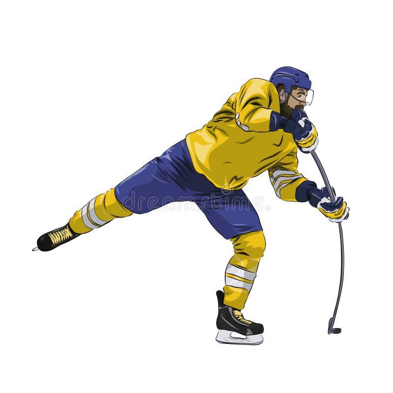 Offensiv puck för skytte för ishockeyspelare stock illustrationer