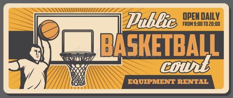 Offentlig basketdomstol, spelare och boll i korg vektor illustrationer