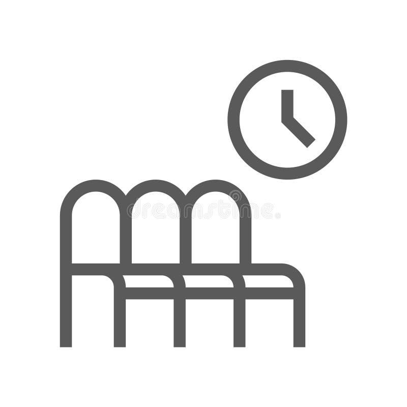 Offentlig navigeringvektorlinje symbol vänta för lokal för flygplats härligt inre Redigerbar slaglängd perfekt PIXEL 48x48 stock illustrationer