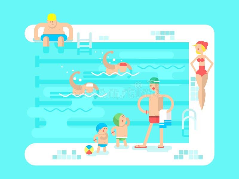 offentlig simning för pöl royaltyfri illustrationer