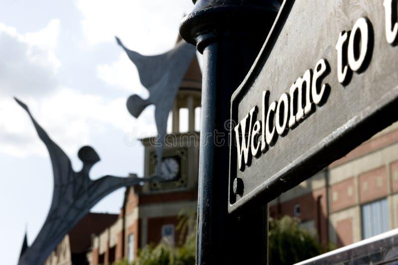 Offentlig skulptur för bemyndigande i Lincoln City Centre, Lincoln, Li arkivbilder