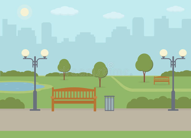offentlig stadspark stock illustrationer