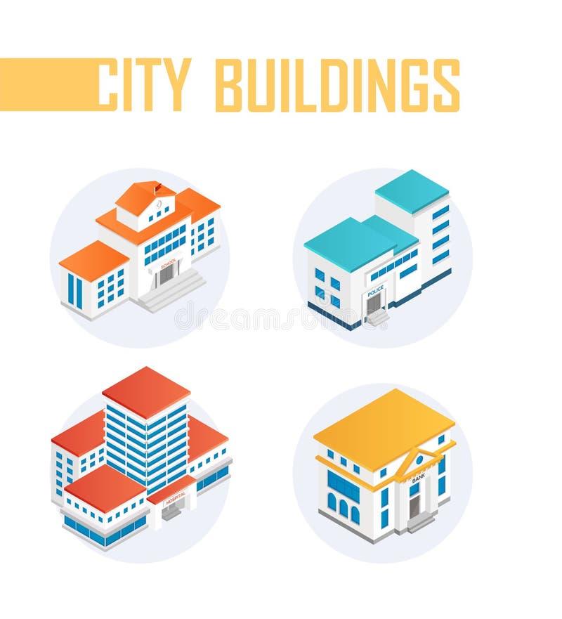 Offentliga stadsbyggnader - färgrika isometriska beståndsdelar för modern vektor stock illustrationer