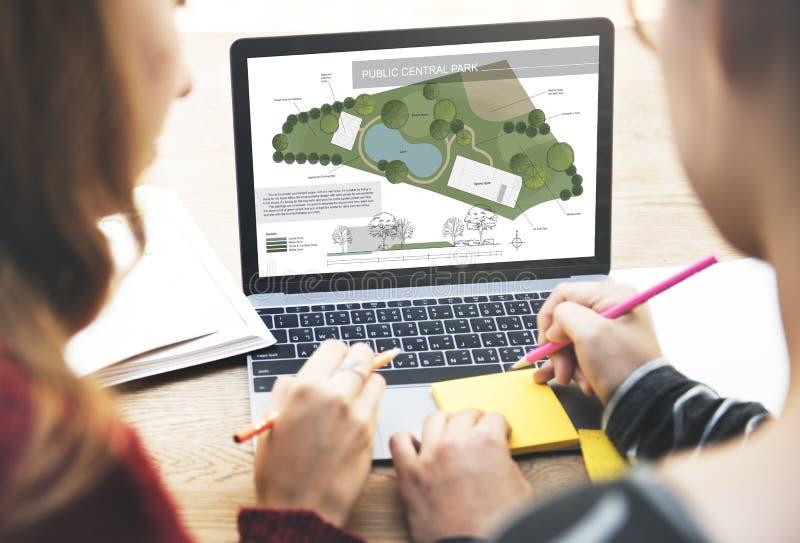 Offentligt begrepp för plan för avkoppling för Central Parkbygemenskap arkivfoton