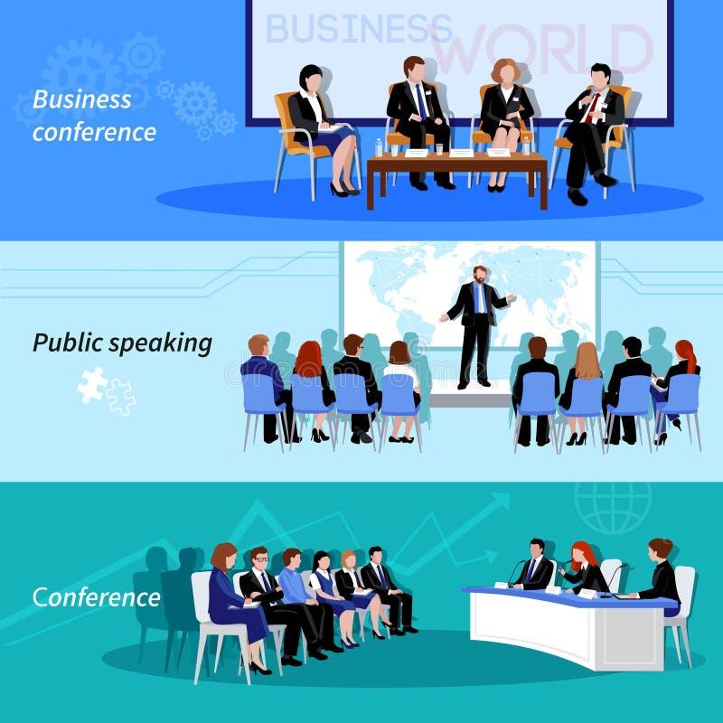 Offentligt tala för konferens 3 plana baner vektor illustrationer