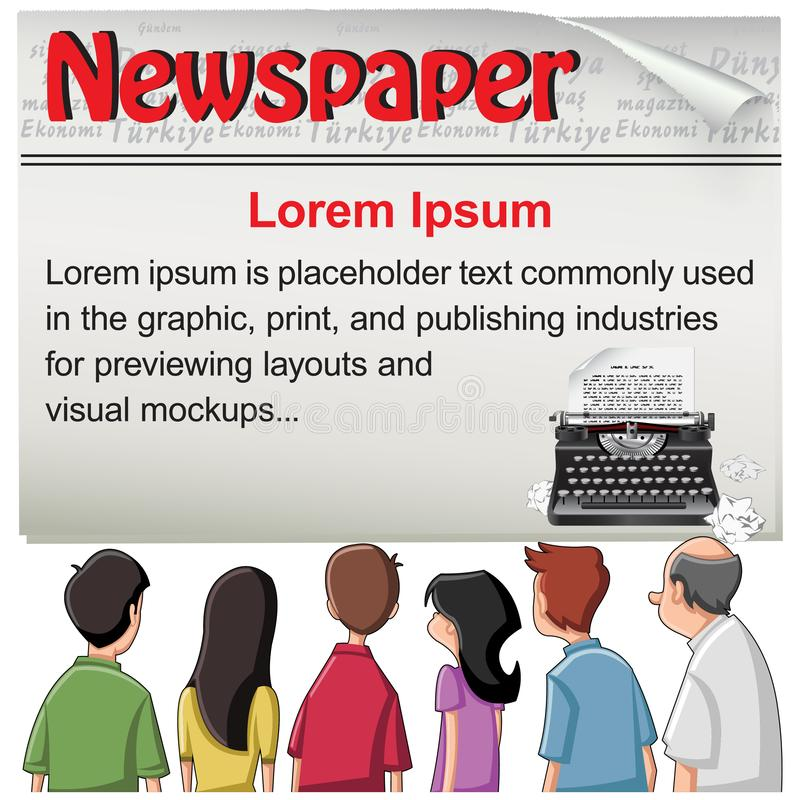 Offentligt - tidningsnyheternamall royaltyfri illustrationer