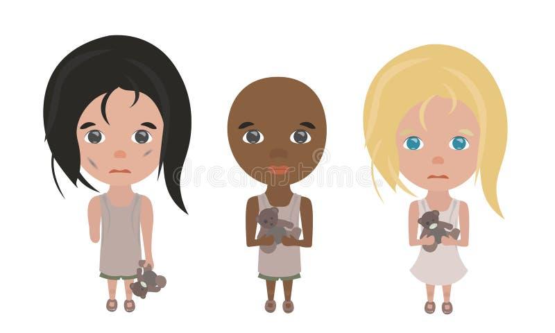 Offer av kriget: barn utan hem och föräldrar vektor illustrationer