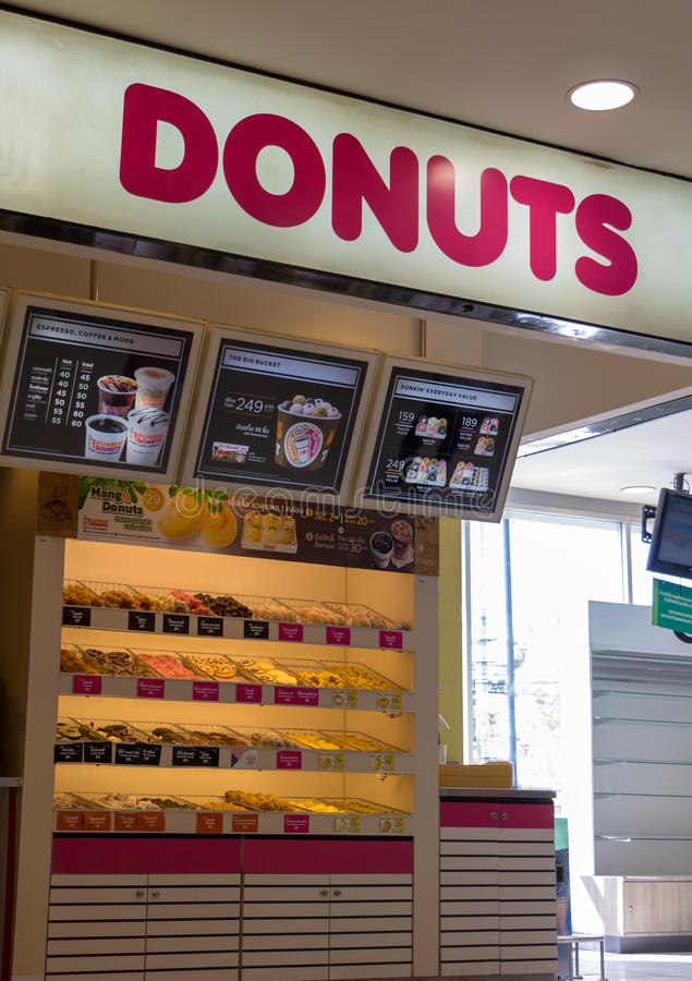 Offer of bakery shop with donuts royalty free stock photography