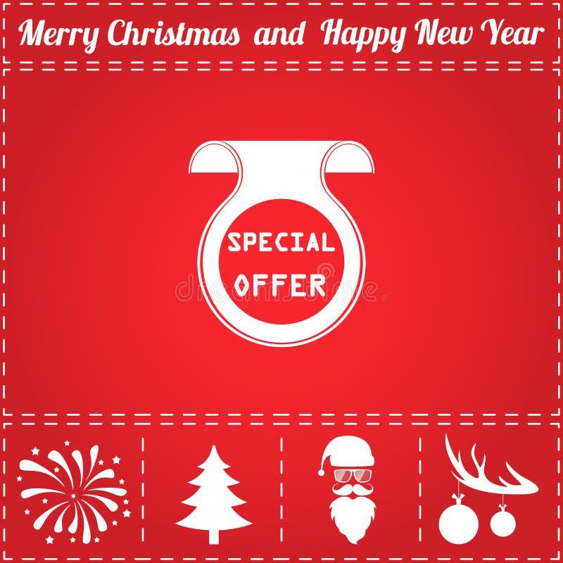Offer Icon Vector. And bonus symbol for New Year - Santa Claus, Christmas Tree, Firework, Balls on deer antlers stock illustration