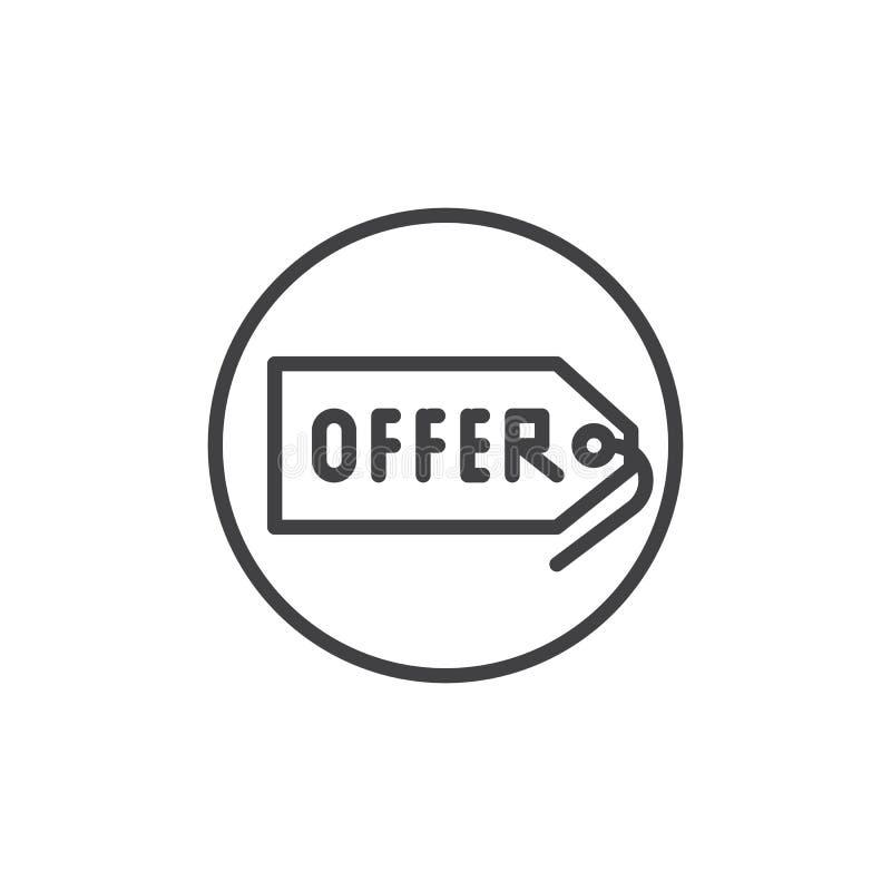 Offer tag label line icon stock illustration