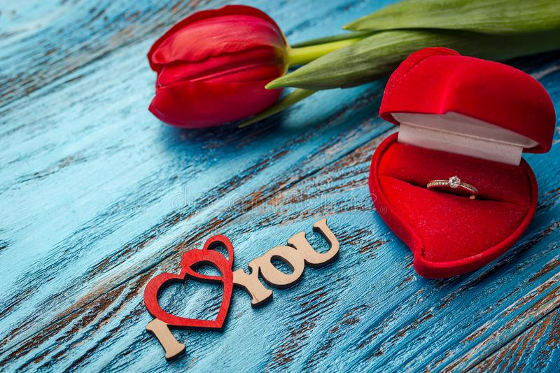 The offer to get married. A gift for St. Valentine`s Day. Marria royalty free stock images