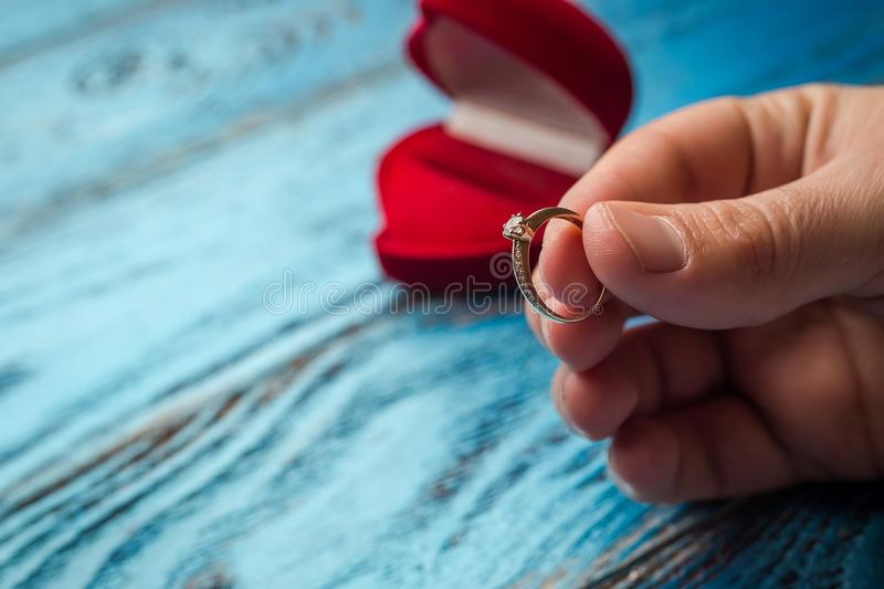 The offer to get married. A gift for St. Valentine`s Day. Marria. Ge proposal stock photography