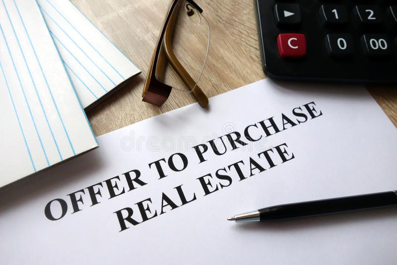 Offer to purchase real estate stock photography