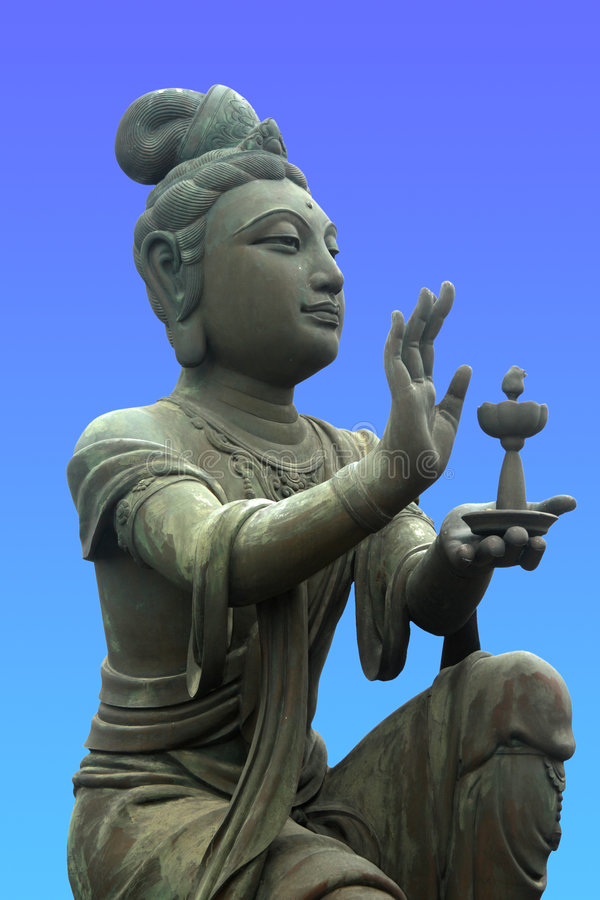 Offerente al Buddha gigante fotografie stock
