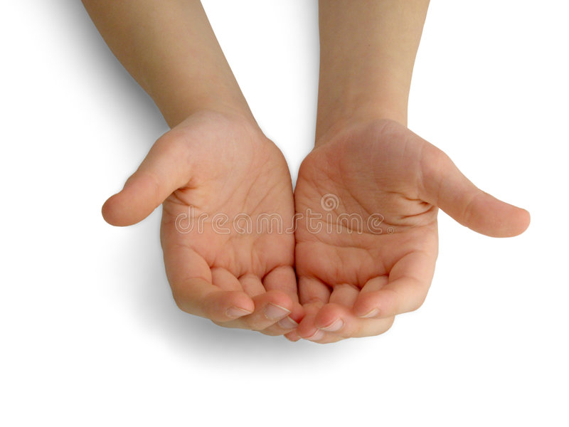 Offering. Child's hands holding/offering/giving something or asking/begging for something royalty free stock photos