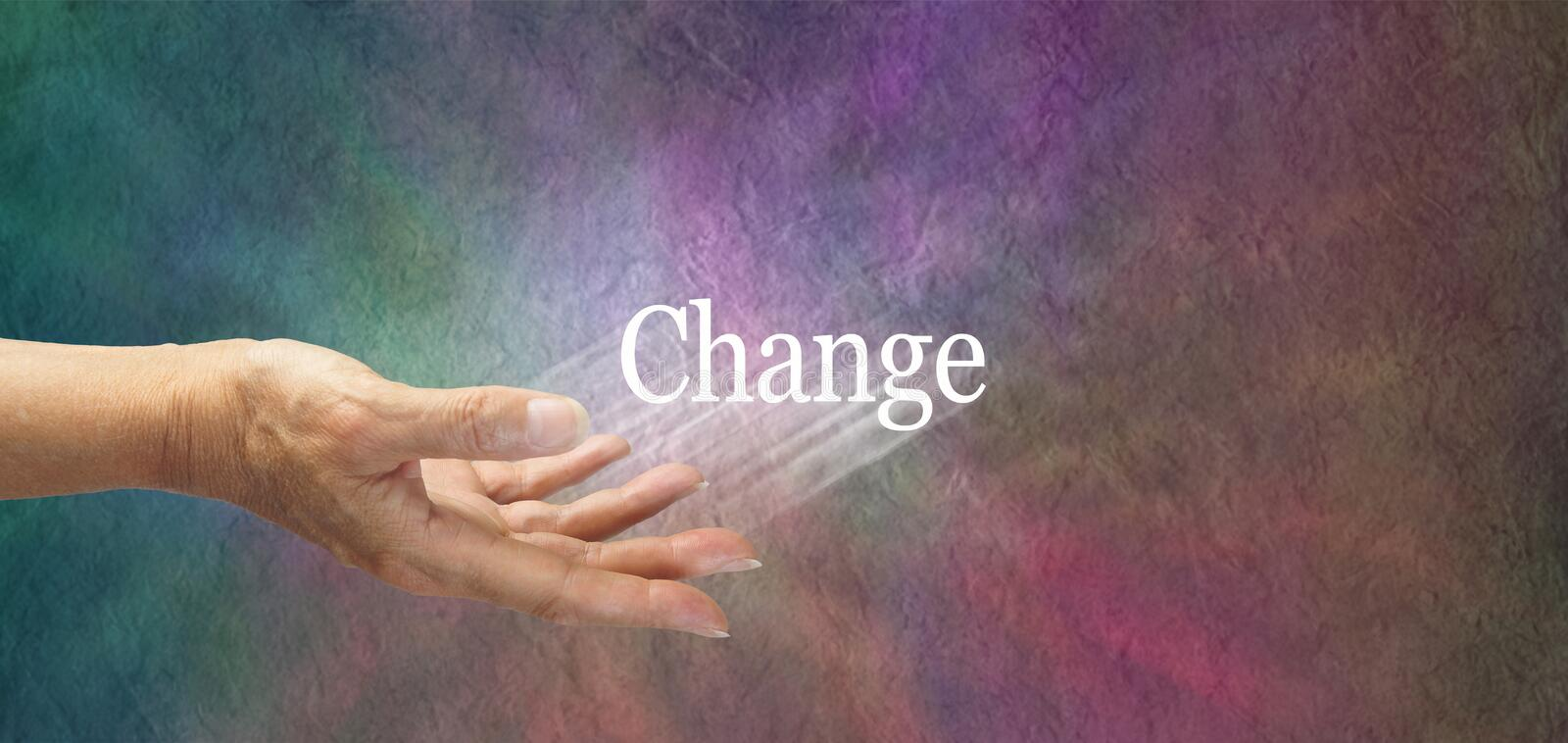 Offering change. Female hand outstretched with the word 'Change' appearing to move outwards indicating change is suggested, on a multicolored stone effect vector illustration