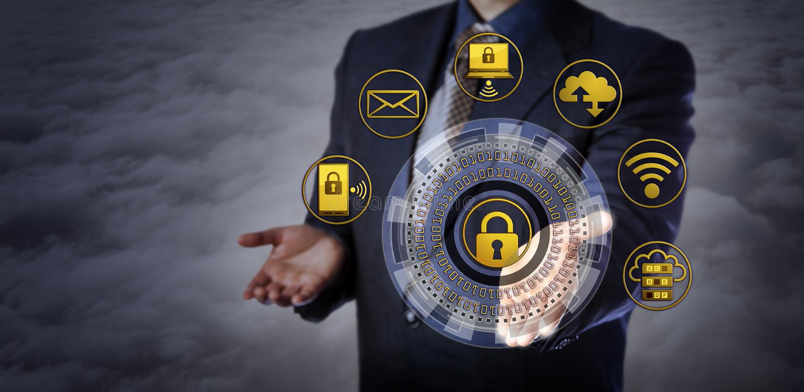 Offering Cybersecurity Mechanism Above The Clouds. Blue chip manager offering a virtual cyber security mechanism. Concept for computer security applications stock photos