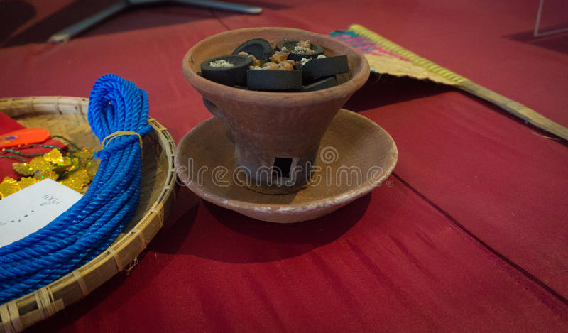 The offering flower and incense on pottery served for traditional ceremony photo taken in Pekalongan Indonesia stock image