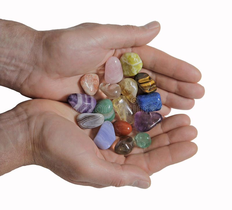 Offering healing crystals stock photo