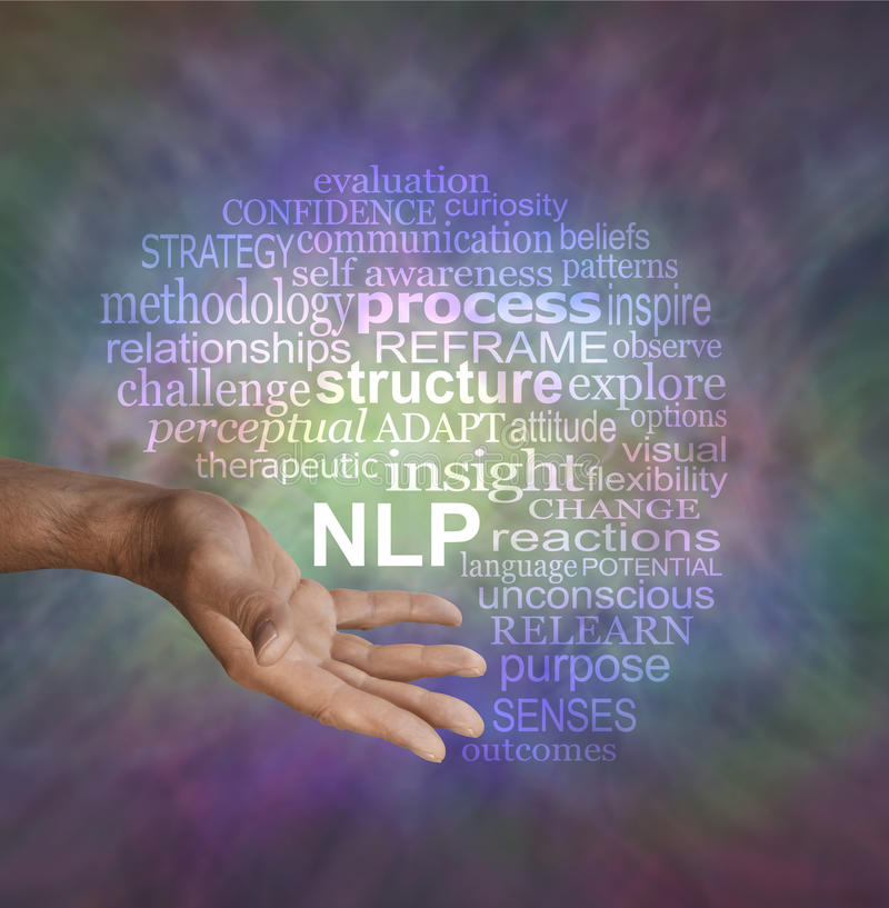 Offering Neuro Linguistic Programming NLP word cloud. Male hand in offering gesture position with an NLP word cloud above on a muted multicolored vignette royalty free stock photo