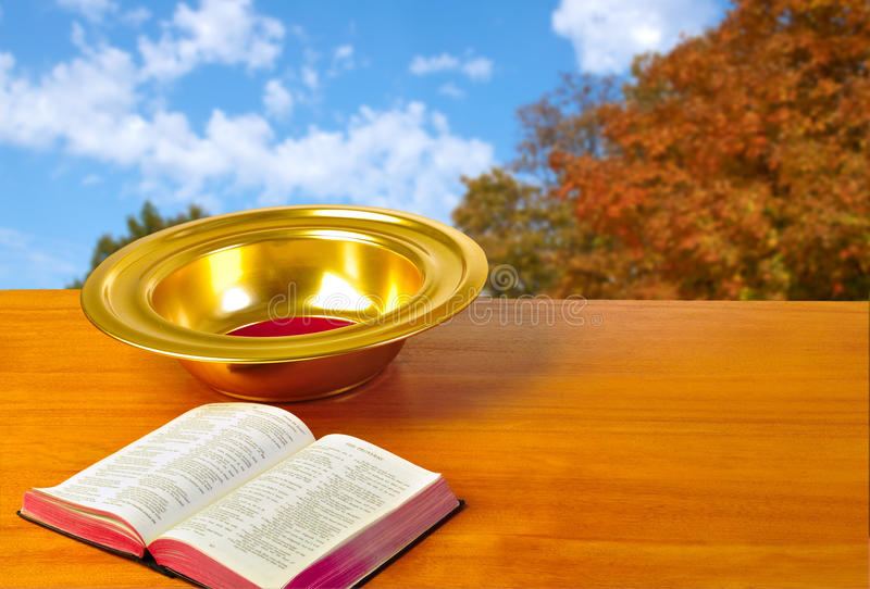 Offering plate stock image
