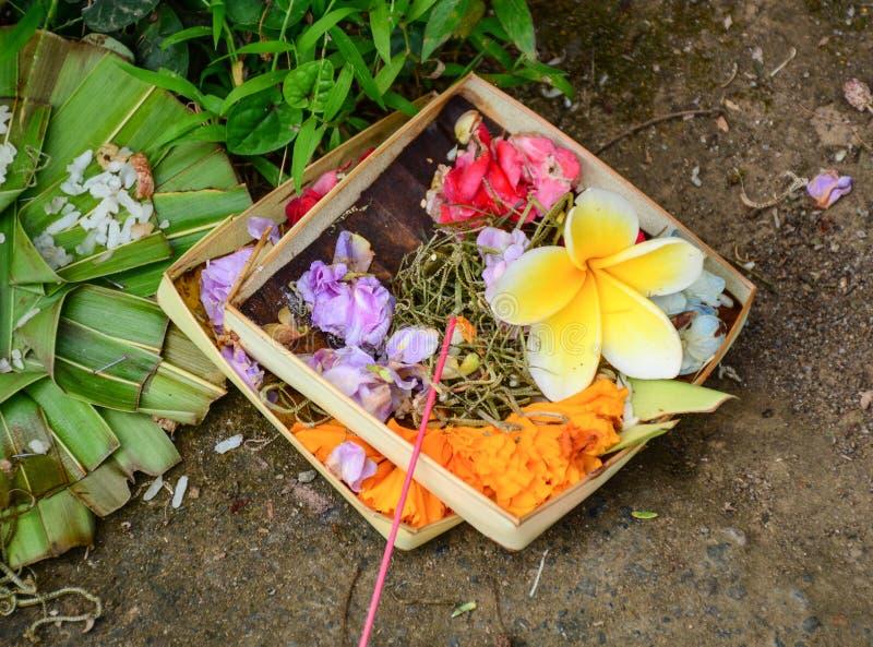 Offerings på templet i Bali, Indonesien royaltyfria foton
