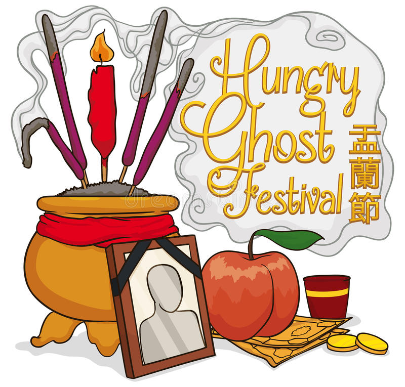 Offerings to Pay Respect to Ancestors in Ghost Festival, Vector Illustration vector illustration