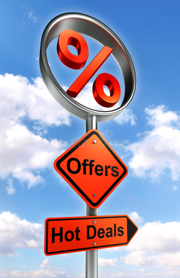 Offers road sign with discount symbol stock illustration