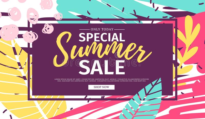 Offerta dell'insegna di estate di web di progettazione del modello Aletta di filatoio di estate per l'offerta di stagione sul fon illustrazione di stock