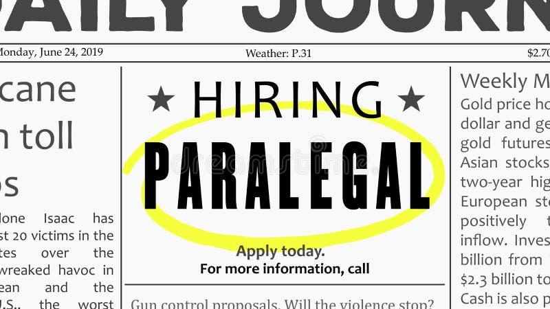 Offerta di lavoro del paralegale illustrazione di stock