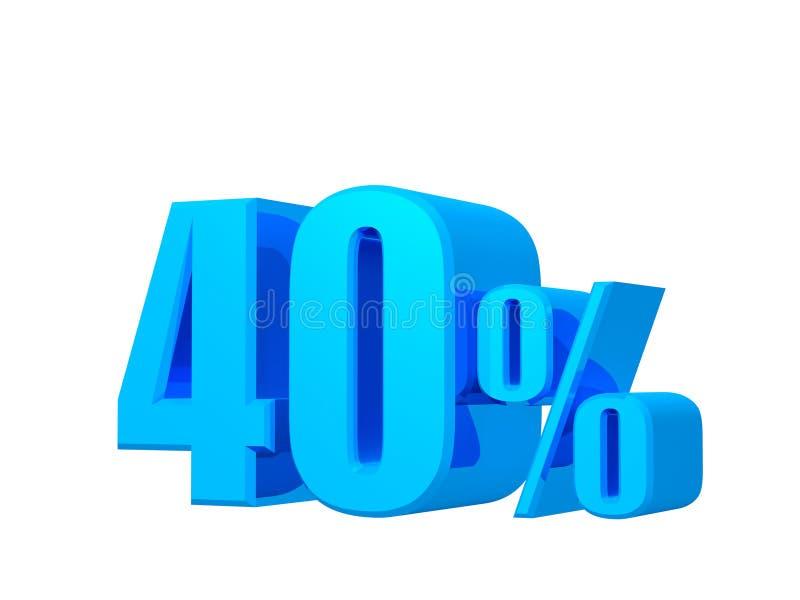 offerta di 40%, prezzo di offerta, sconto, una promozione delle vendite di quaranta per cento, rappresentazione 3D sul fondo bian illustrazione vettoriale