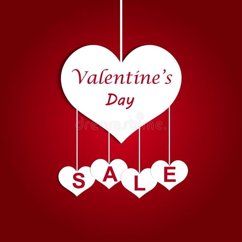 Offerta di vendita di giorno del ` s del biglietto di S. Valentino, modello dell'insegna Etichette di vendita del cuore dei bigli royalty illustrazione gratis