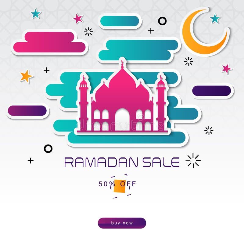 Offerta di vendita di Ramadan Kareem, modello dell'insegna con i colori variopinti Disegno moderno fotografie stock